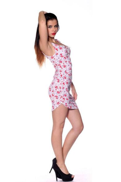 Maxi ruha - Flower Pattern White