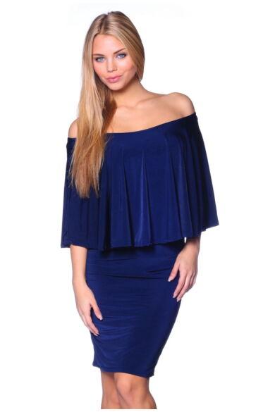 Fodros nyakú mini ruha - Dark Blue