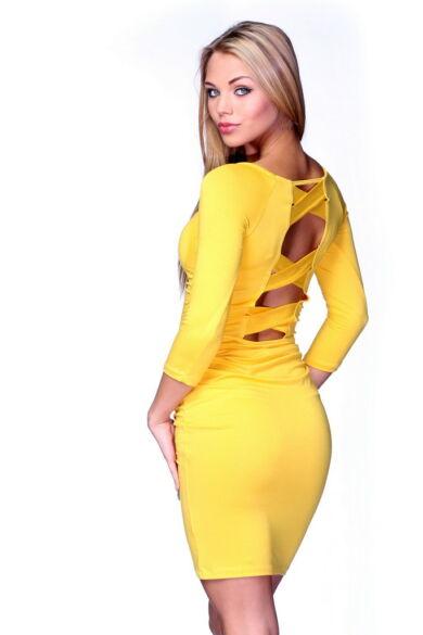 Hátul keresztpántos midi ruha - Yellow