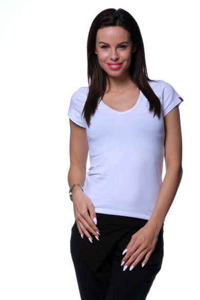 Húzott nyakú póló - White