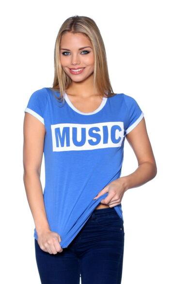 Nyomott mintás póló - Denim Blue