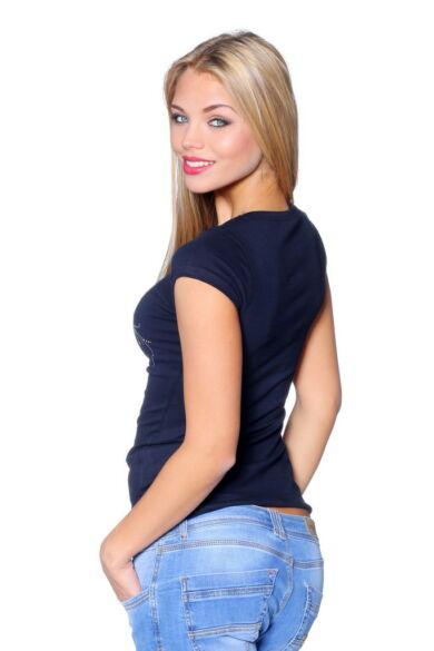 Rhinestone T-shirt Dark Blue