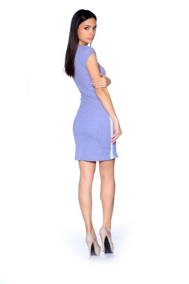 Zip Front Rib Mini Dress Melange Grey - White