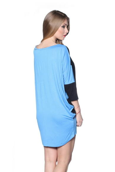 Color Block Oversized Top Turquoise - Black
