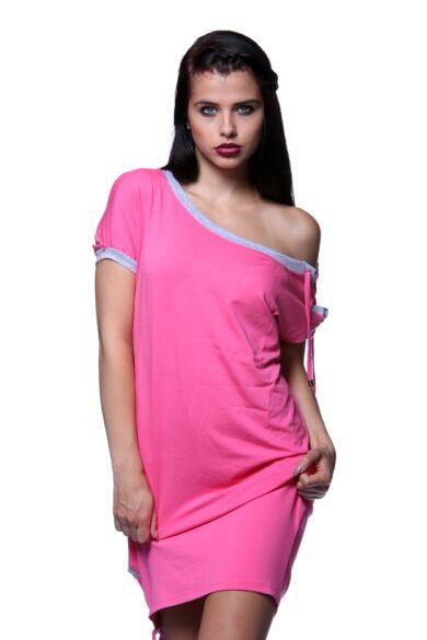 Mini ruha - Hot Pink - Melange Grey