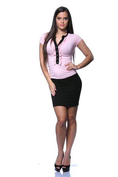 Elől fodros mini ruha - Rose Quartz - Black