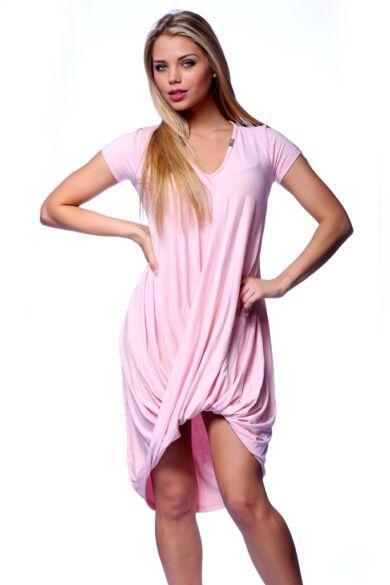 Csavart aljú mini ruha - Rose Quartz