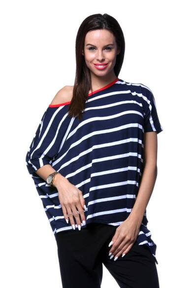 Rövid ujjú felső - Stripe - White - Navy Blue - Red
