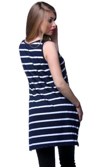 Ujjatlan felső - Stripe - White - Navy Blue - Dark Blue