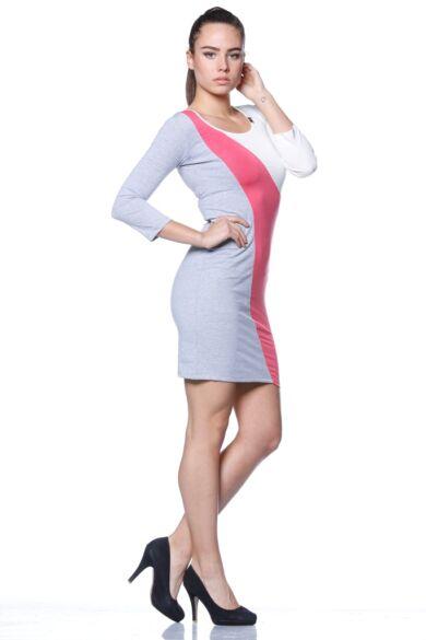 Több színből varrott miniruha /Color Block miniruha - Melange Grey - Hot Pink - Cream