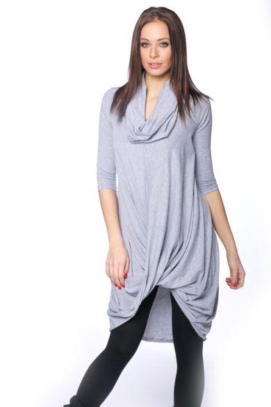 Csavart aljú mini ruha - Melange Grey