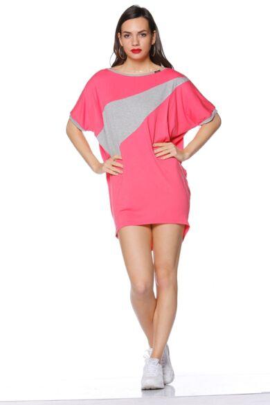 Laza felső - Hot Pink - Melange Grey