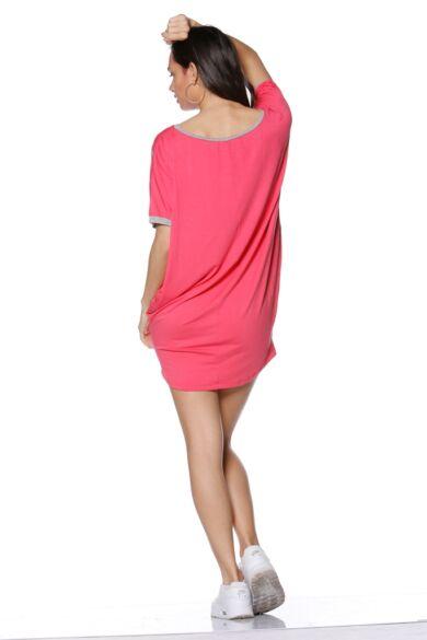 laza felső/Color Block oversize ruha - Hot Pink - Melange Grey