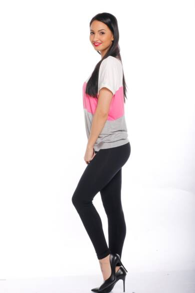 Rövid ujjú felső - Melange Grey - Hot Pink - Cream