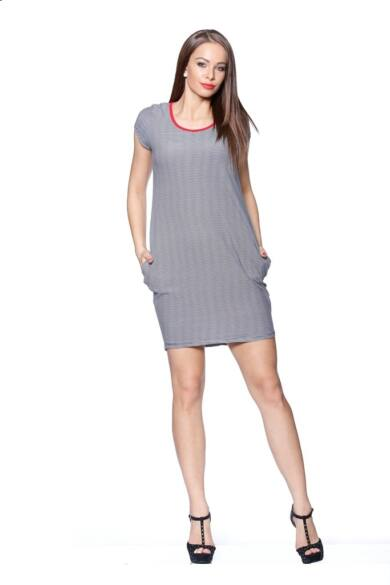 Mini ruha - Stripe - White - Navy Blue - Red