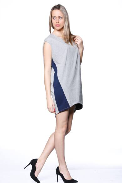 Mini ruha - Melange Grey - Dark Blue