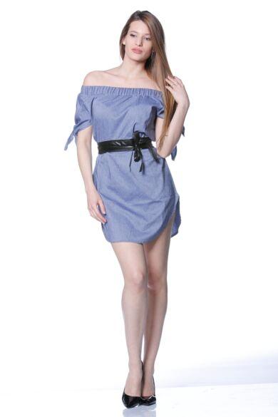 Nyitott vállú mini ruha - Denim Blue