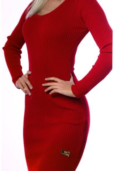 Bordás kötött környakú miniruha - Red