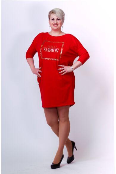 Oldal zsebes laza mini ruha - Red