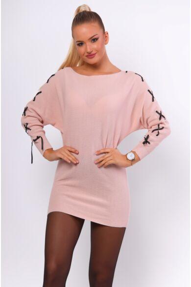 Fűzős ujjú pulóver - Rose