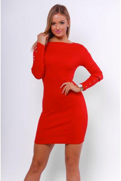 Bordás kötött miniruha - Red