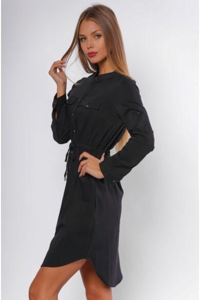 Derékkötős ing ruha - Black