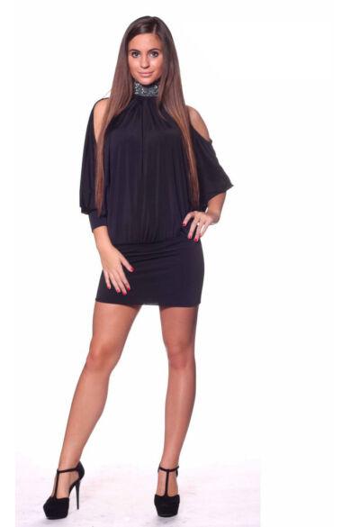 Nyakbakötős, köves, nyitott hátú, bő ruha - Black