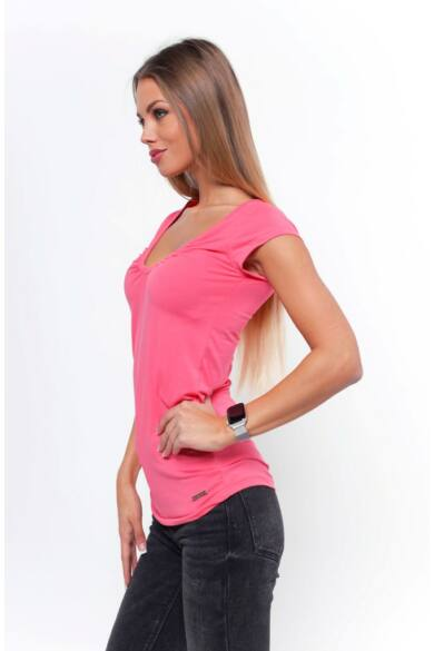 Húzott nyakú póló - Quartz Rose