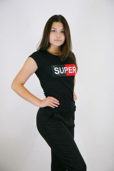 """Mintás póló """"SUPER"""" felirattal"""