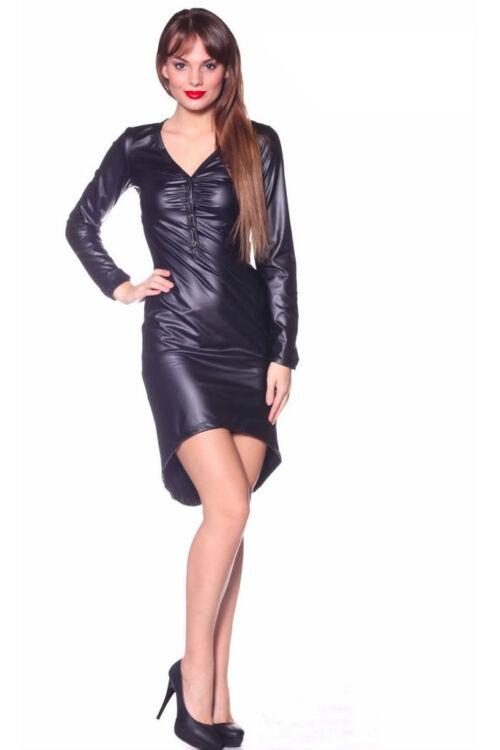 Bőr patentos mini ruha - Black