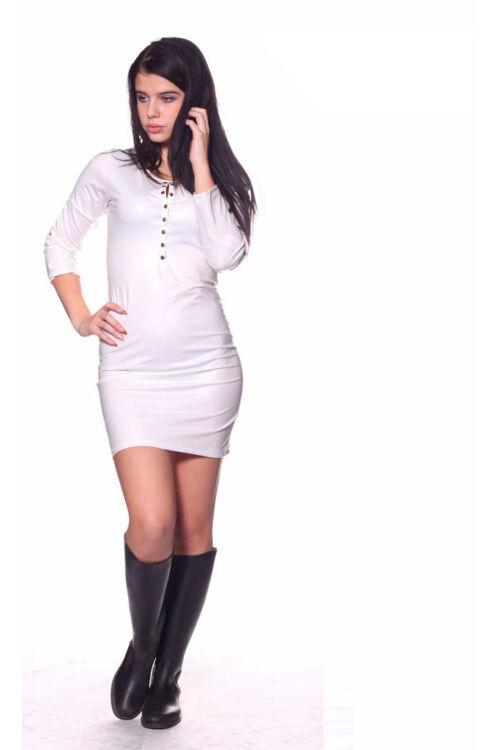 Bőr patentos mini ruha - Cream