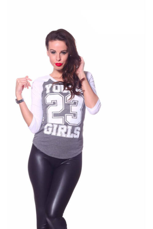YOUNG 23 GIRL poló - Dark Melange Grey White
