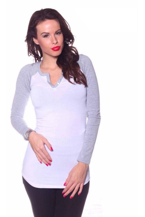 Kétszínű, gombos tunika - White Melange grey