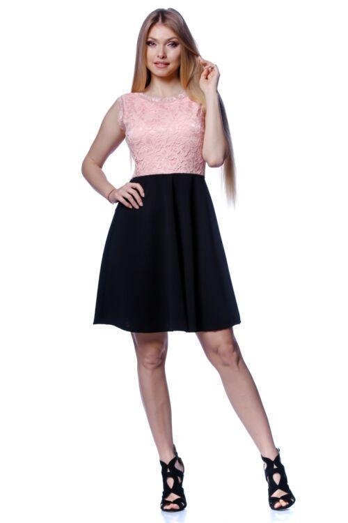 A vonalú,magasított derekú ruha - Black - Quartz Rose