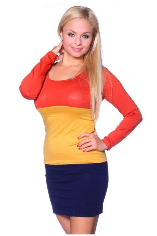 Több színből varrott miniruha - Rust - Yellow - Dark Blue
