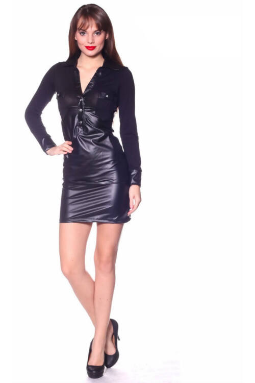 Bőrrel kombinált hosszú ujjú ruha - Black