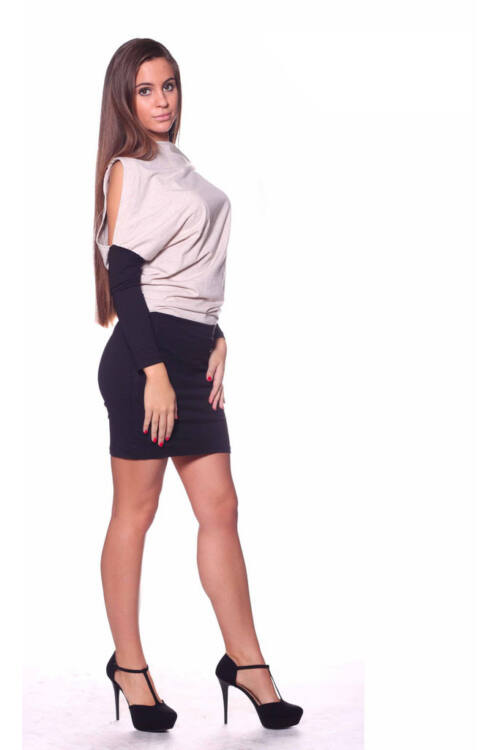 Félvállra lehúzható, kétszínű ruha - Melange Beige