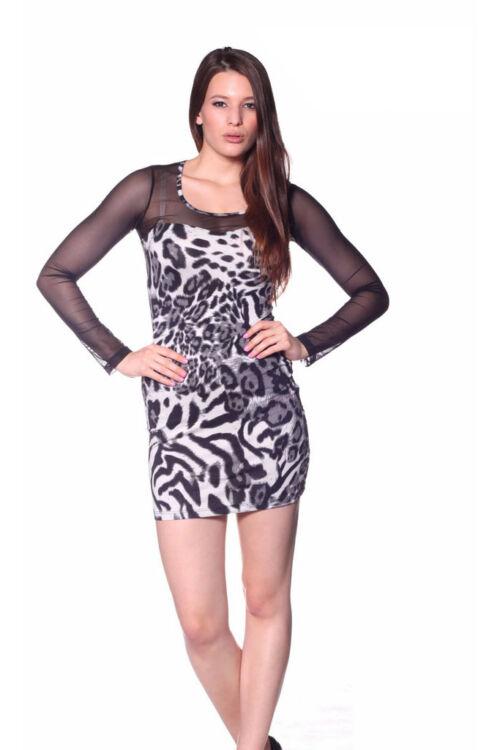 Leopárd mintás, tüllbetétes ruha - Grey