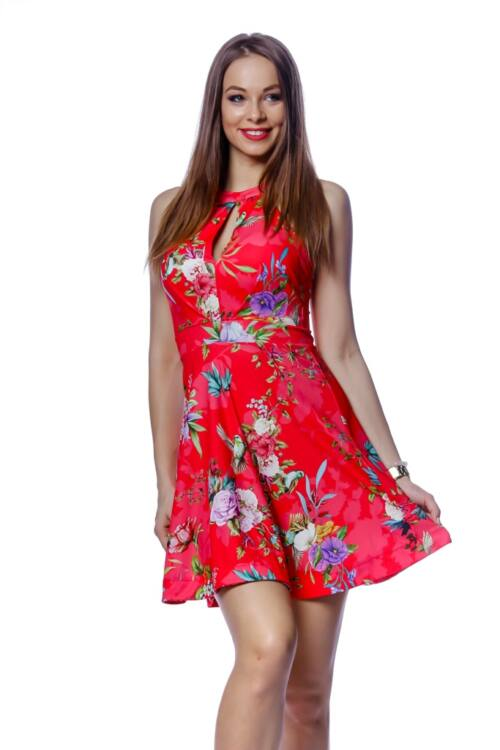 Virág mintás mini ruha - Red Floral Print