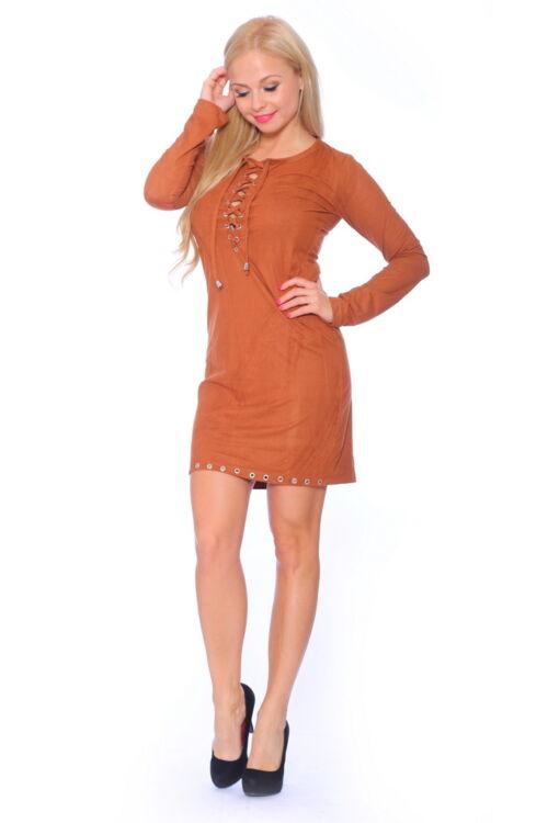 Fűzős ruha - Camel