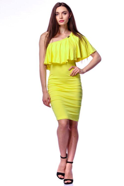 Félvállas fodros mini ruha - Yellow