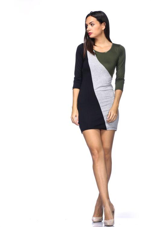 Mini ruha /Color Block miniruha - Khaki - Melange Grey - Black