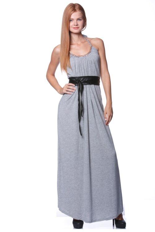 Lánc nyakpántos  maxi ruha - Melange Grey
