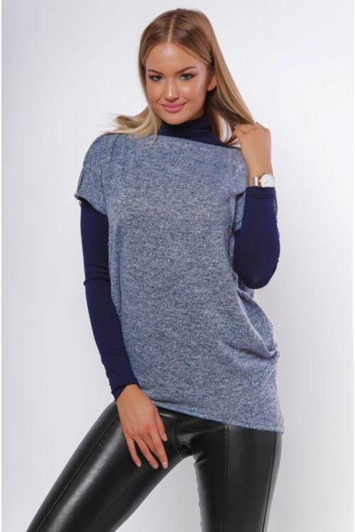 Bő szabású lezser viselet felső - Melange Blue