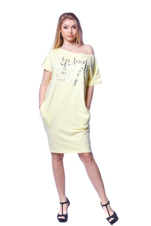 Rövid ujjú mini ruha - Yellow