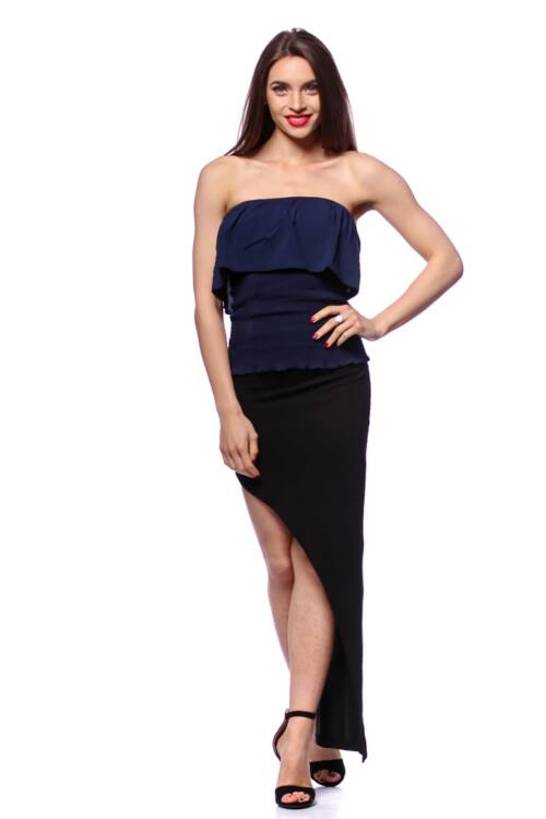 Smocked Tube Top With Ruffles - Dark Blue