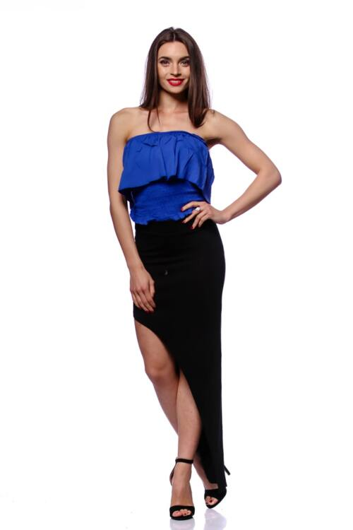 Smocked Tube Top With Ruffles - Rolyal Blue