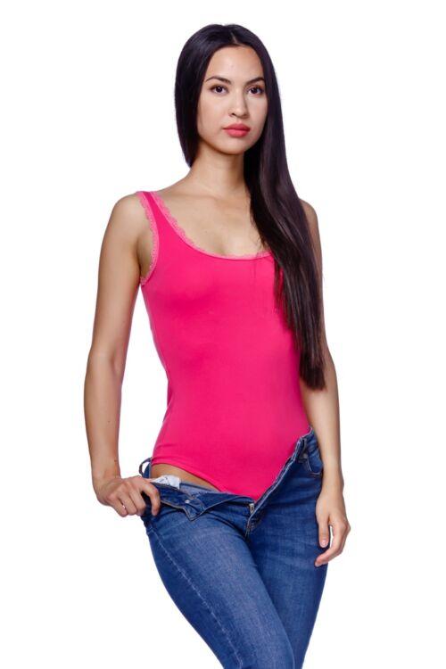 Csipke szegélye body - Hot Pink