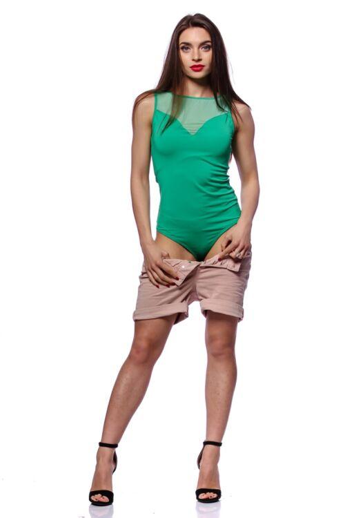 Tüll betétes body - Green