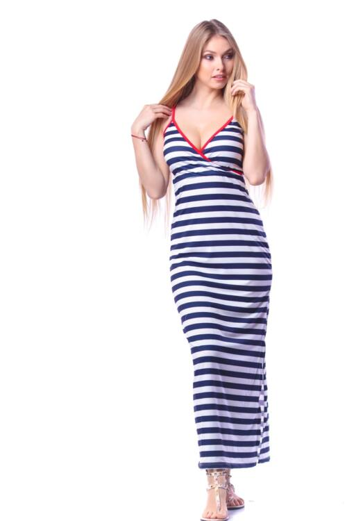 Maxi ruha - White - Navy Blue - Red